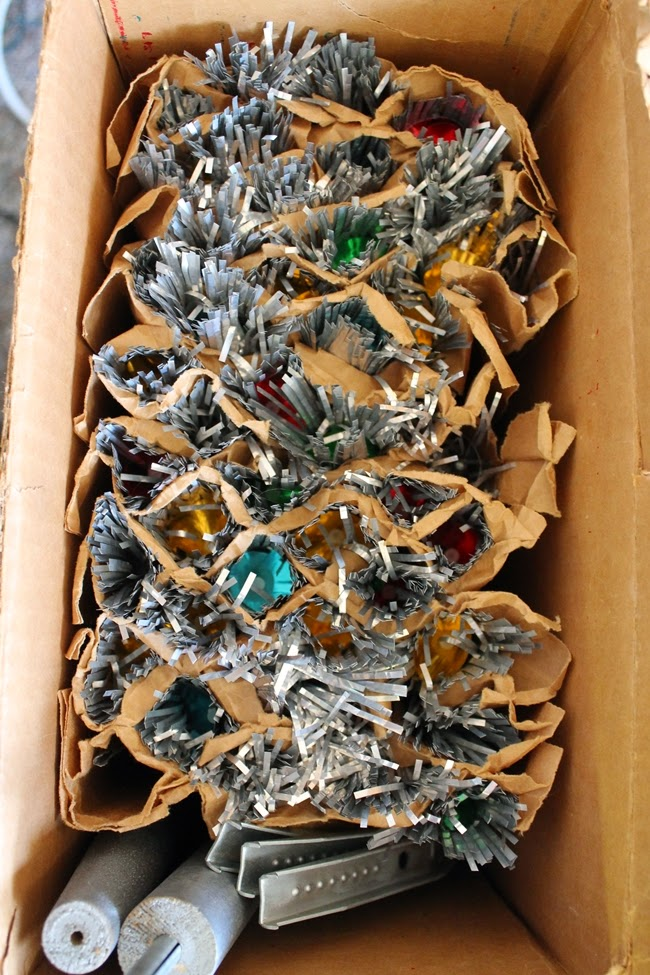1950s aluminum christmas tree in box with color reflectors