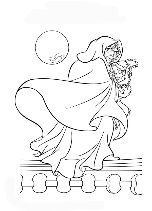 disney coloring pages rapunzel and wicked witch