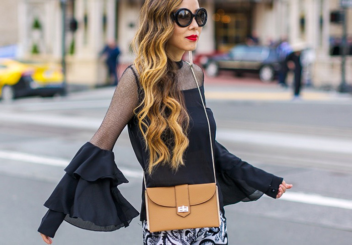 Bell sleeve top, black fishnet bell sleeve top, alice and olivia pants, christian louboutin glitter pumps, baublebar earrings, prada sunglasses, henri bendel convertible rivington tote, spring outfit ideas, san francisco fashion blog, san francisco street style