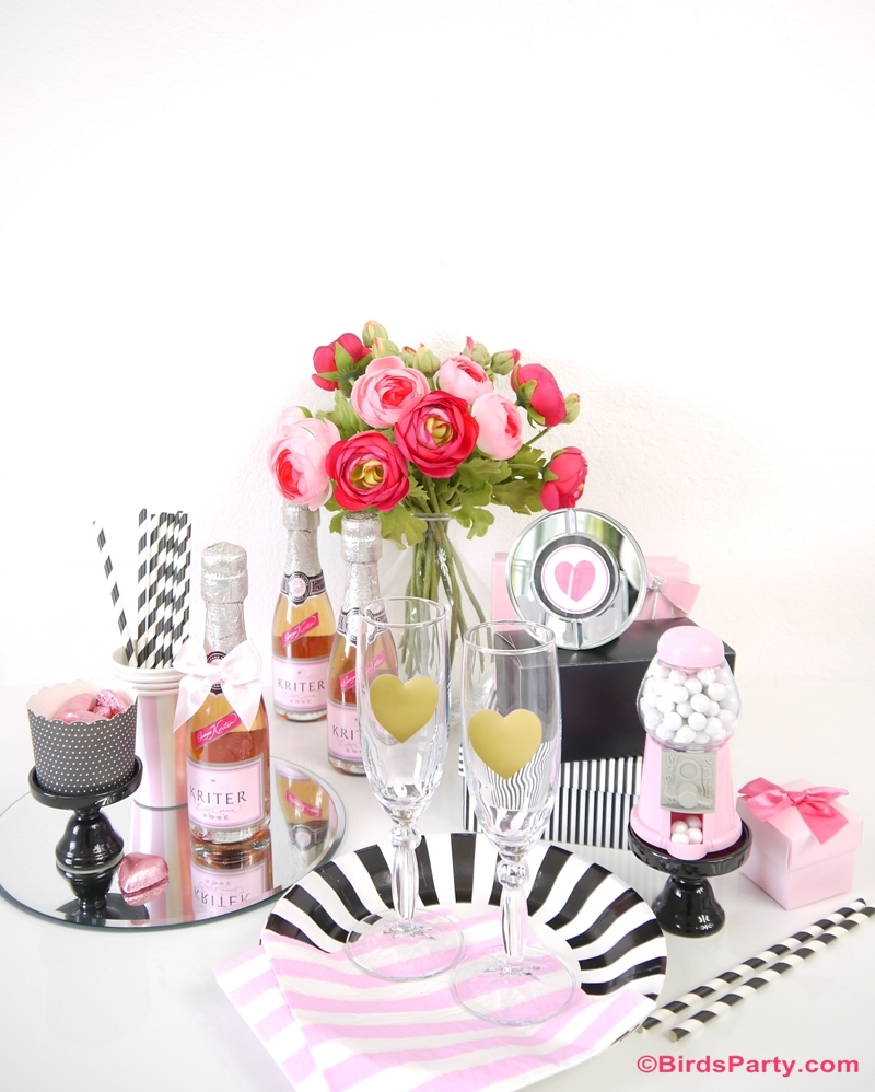 Galantine's Day Valentine's Bar Cart Styling - BirdsParty.com