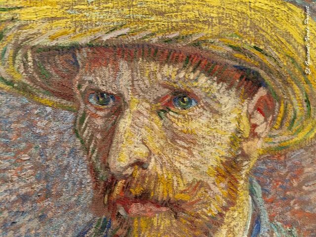 Van Gogh, Autorretrato con Sombrero de Paja (detalle) - MET. Nueva York por El Guisante Verde Project