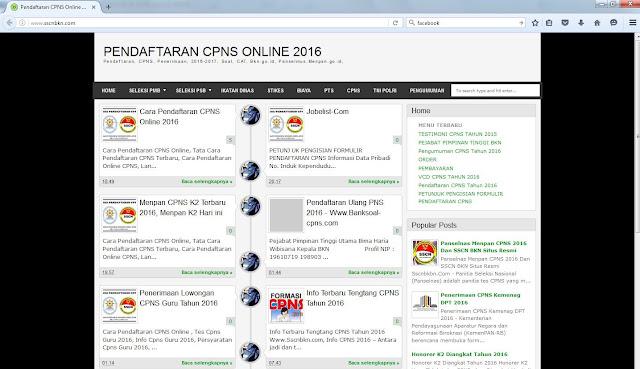 Tampilan Website penipuan CPNS