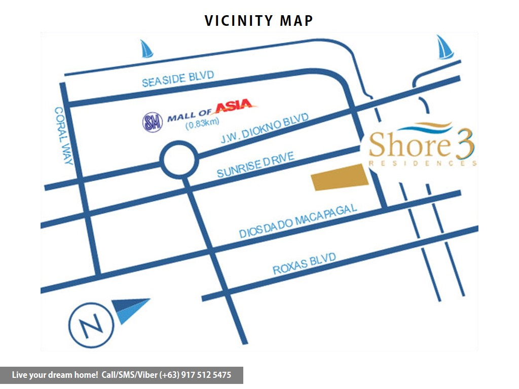 Vicinity Map - SMDC Shore 3 Residences - 2 Bedroom With Balcony | Condominium for Sale SM Mall of Asia Pasay