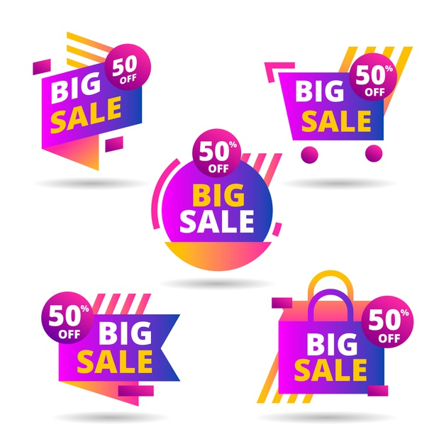 Colorful sales banners collection Free Vector Banners