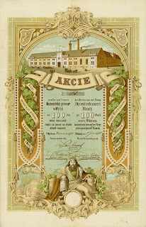 1871 share certificate in the Aktienbierbrauerei Mauth from Mýto