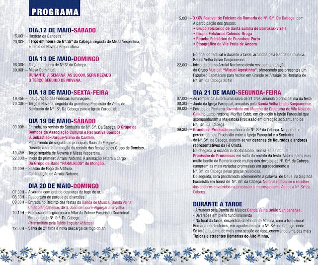 Programa da Festa da Senhora da Cabeça em Freixieiro de Soutelo 2018