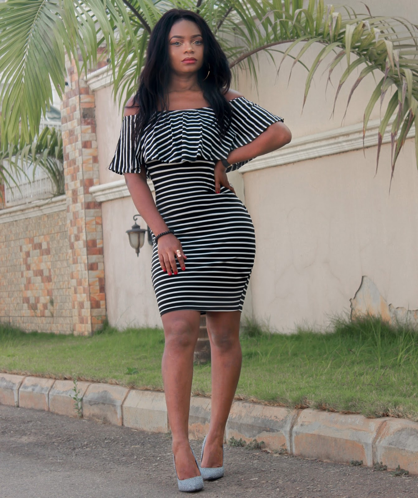 OFF SHOULDER + STRIPES - Off The Shoulder Striped Bodycon Dress