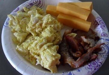 Bacon, Scrambled Eggs, and Homemade Cheddar Cheese Sticks