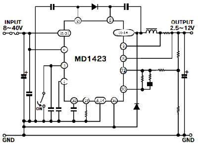 Hình 46 - Sơ đồ dạng tổng quát mạch hạ áp sử dụng IC MD1423