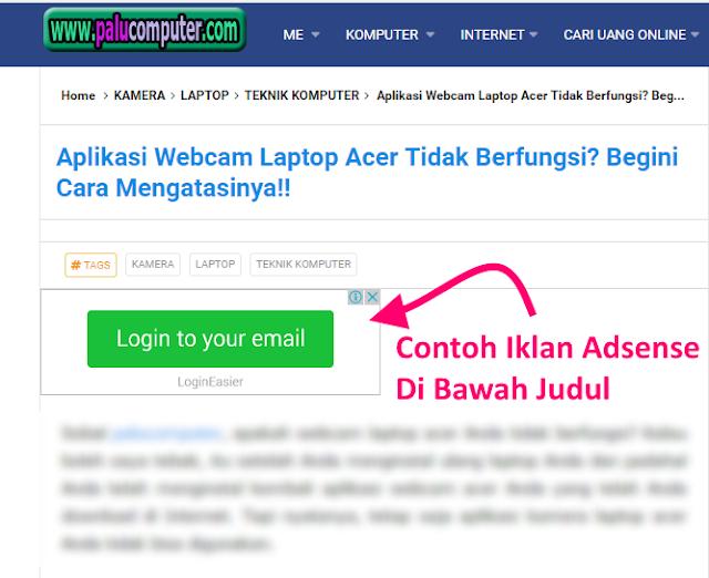 contoh iklan adsense di atas postingan