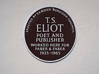 Brown Plaque, Camden Council, TS Eliot Worked Here