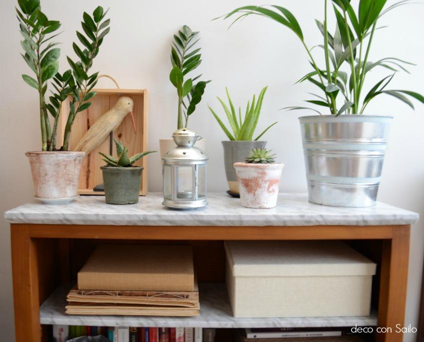 diy con papel vinílico marmol plantas 1