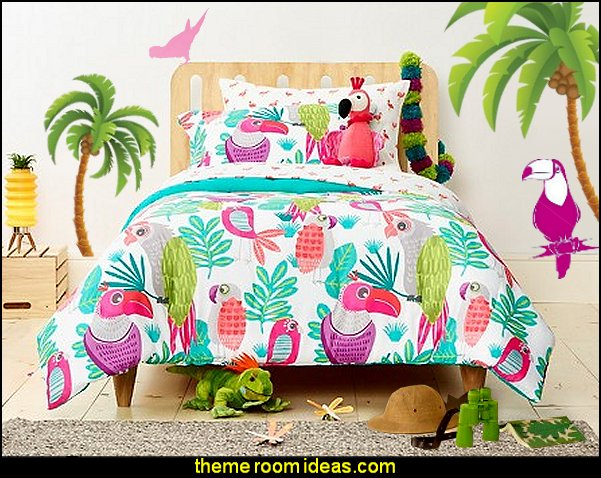 Tropical beach style bedroom decorating ideas - beach bedrooms - surfer theme rooms - tropical theme Hawaiian style decorating - raffia valance window ideas - tropical bedding - tropical wall murals - palm trees decor - tropical bedroom decorating ideas