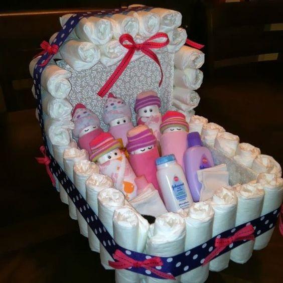9 Ideas para decorar y regalar pañales en un baby shower ~ Solountip.com