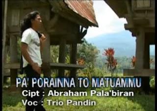 Lirik Lagu Pa'poraianna To Matuammu (Trio Pandin)