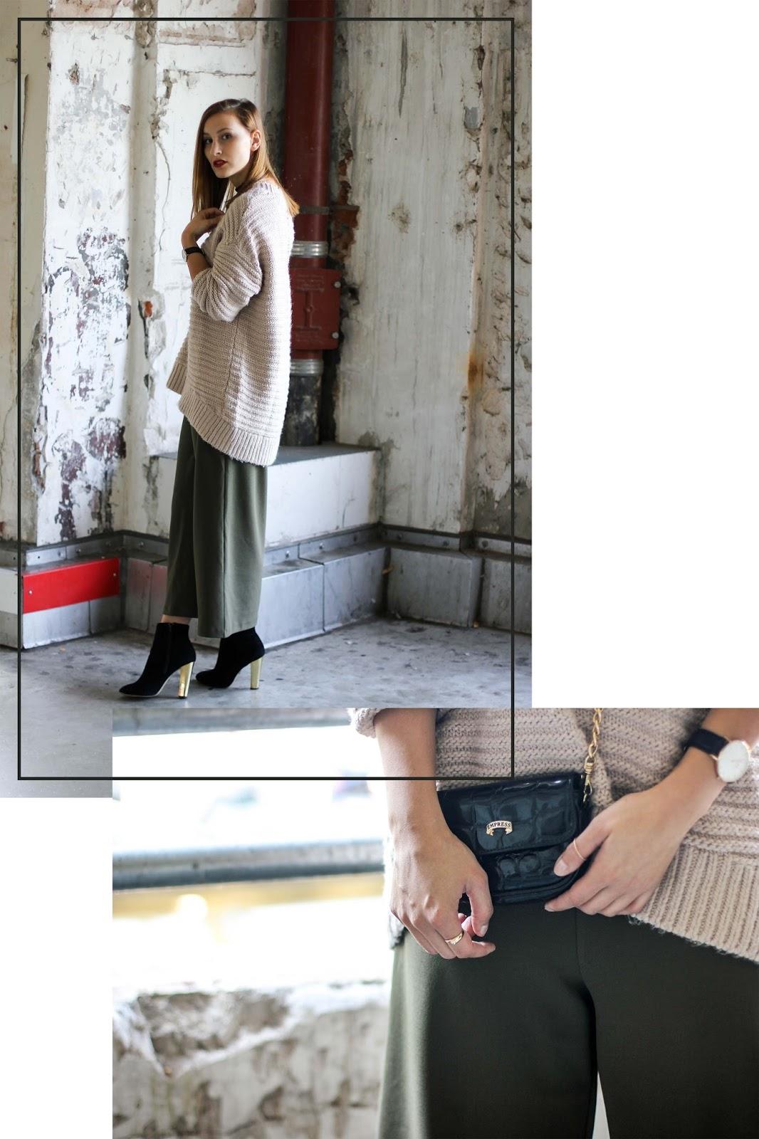 Outfit: Beiger Jumper und gruene Culotte