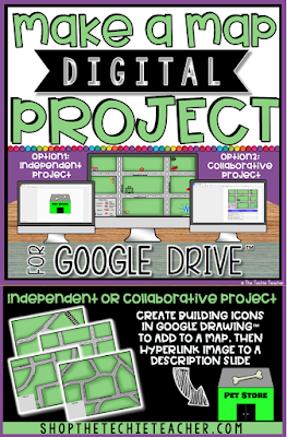 Make a Map Digital Project in Google Drive™ is a great way for students to explore map skills. It would even be a nice addition to a social studies unit on communities. This paperless project can be used independently or collaboratively using Chromebooks, laptops or computers.