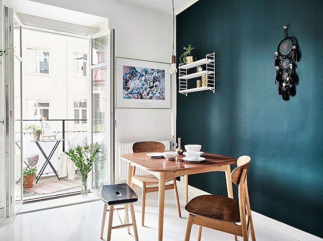 Tendencias decoración 2018 pared azul petróleo