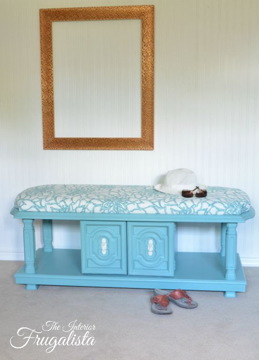 70's Coffee Table Transformed Into Upholstered Bench