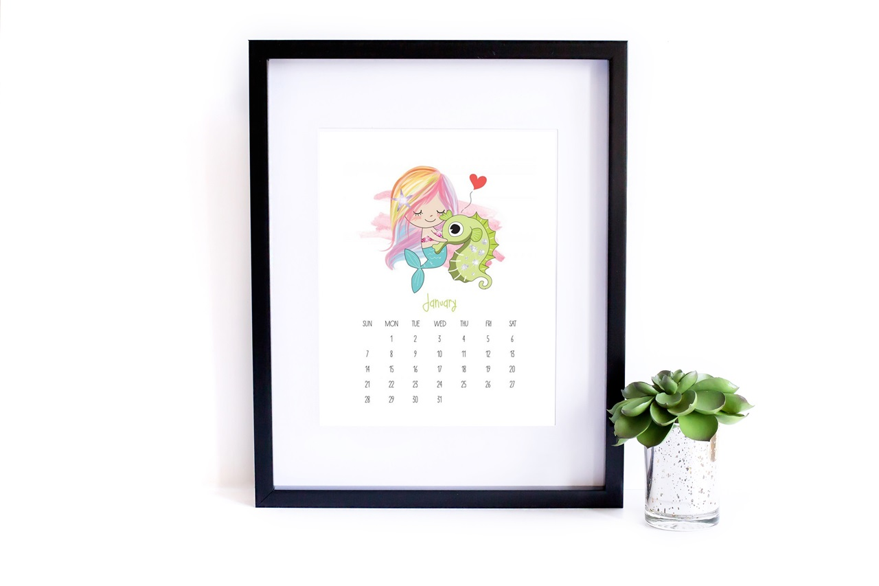 rysunkowy kalendarz 2018 do druku