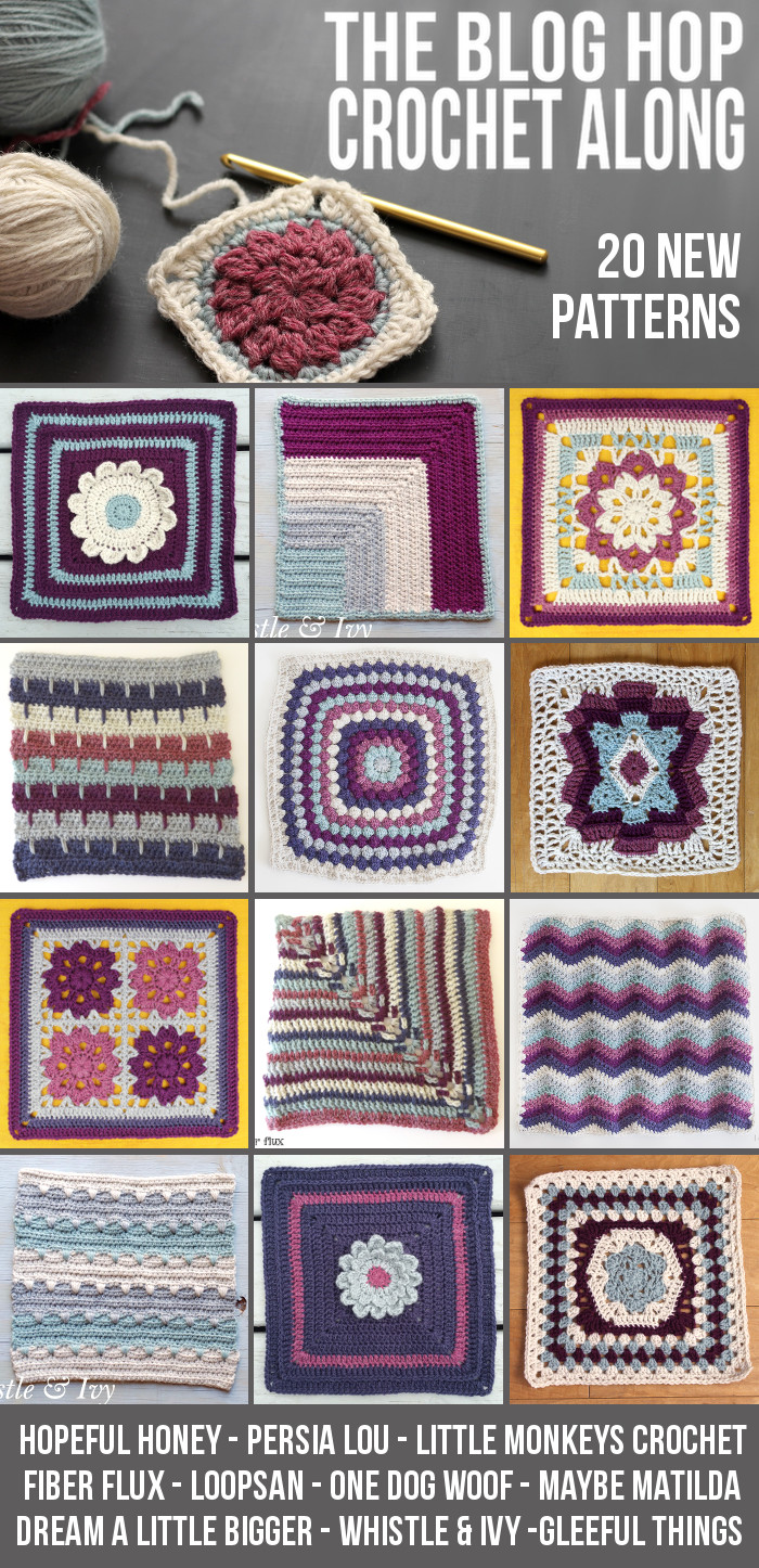 Blog Hop Crochet-a-long. Join us as we release 20 free afghan square patterns over the next 4 weeks, and finish with a beautiful afghan!