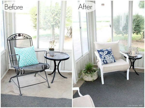 Simple, inexpensive decor to create an inviting outdoor living space! at LoveGrowsWild.com