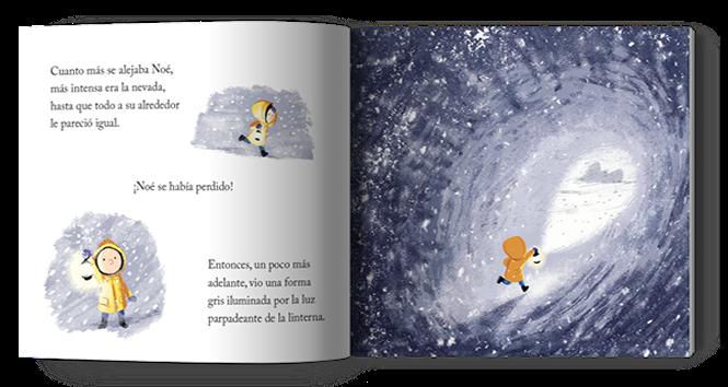 Página interior del cuento la ballena en invierno ilustrado por Benji Davies