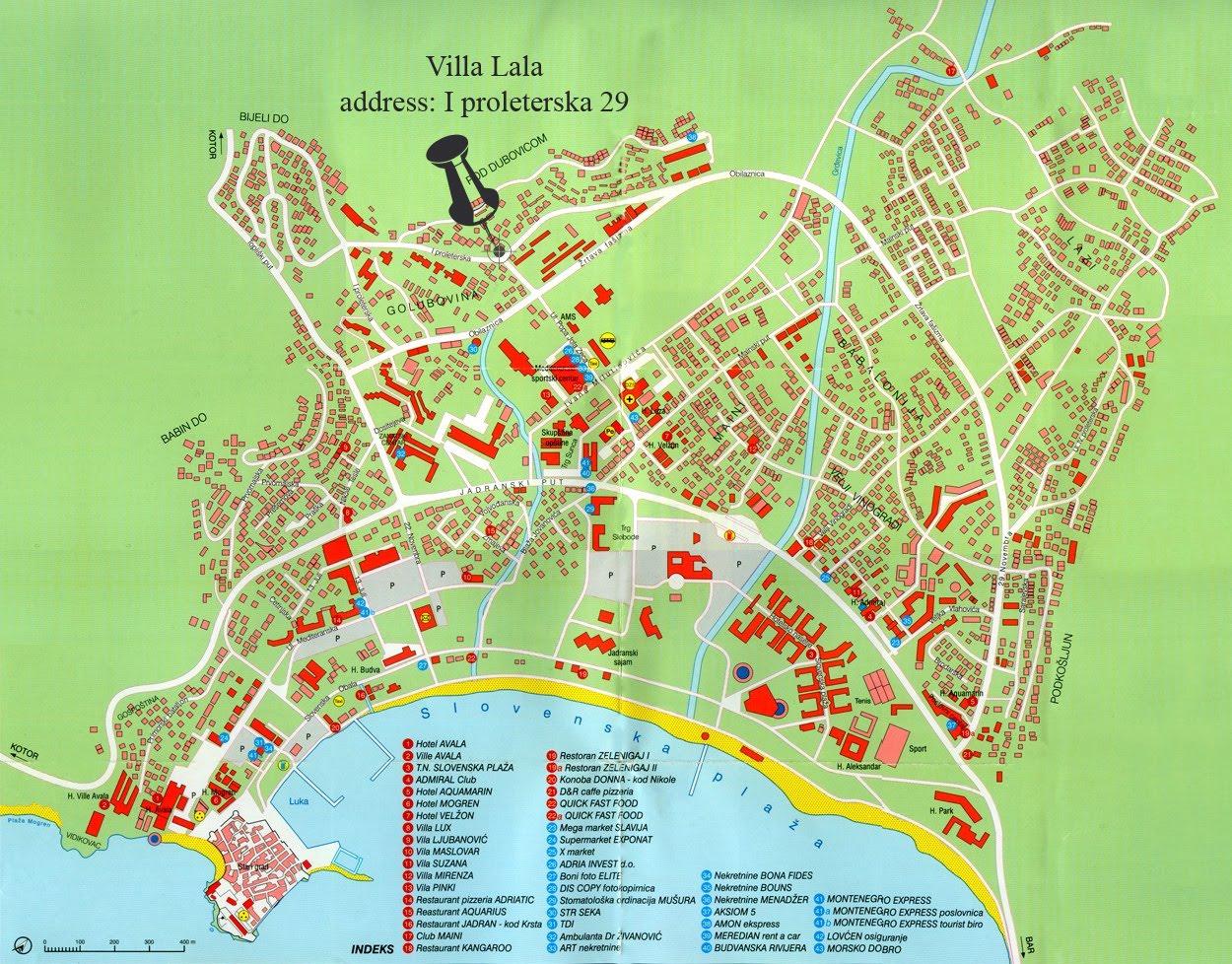 mapa crne gore budva Apartmani i sobe Porodice Bunjevački u Budvi, Crna Gora: MAPA  mapa crne gore budva