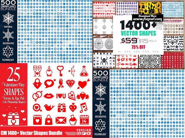 1400 فيكتور شيب فقط على فونكسات للتصميم والجرافيك