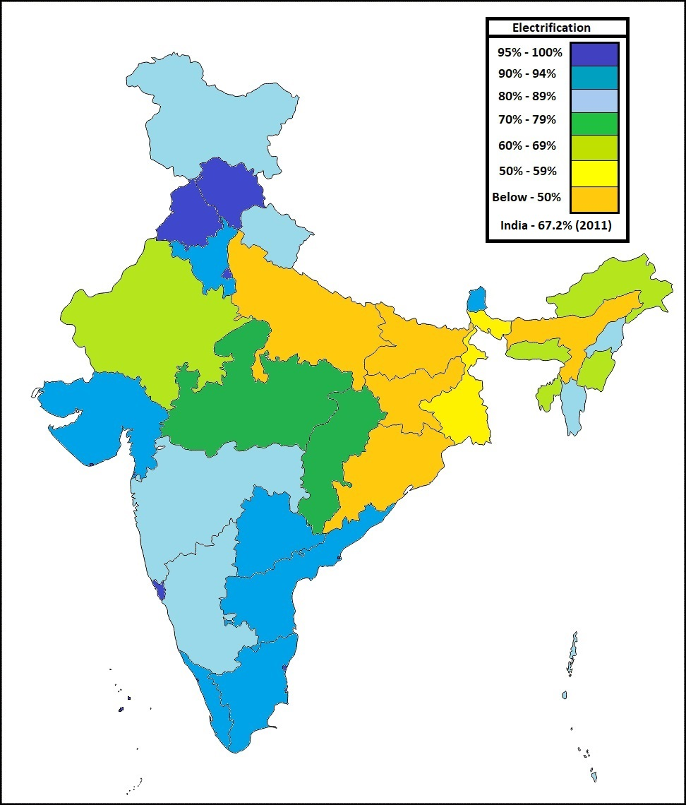 percentage of households electrified in indian states in 2001 fig 1
