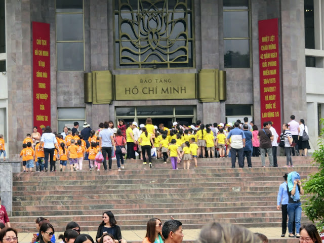School children heading to the Ho Chi Minh Museum in Hanoi Vietnam