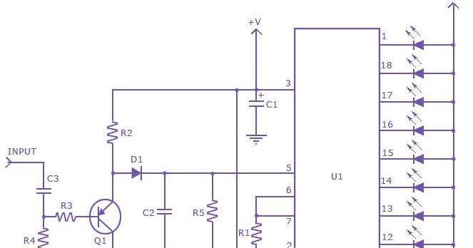 Schematic Diagram: Diagram LM 3915 Sound Level Meter Circuit