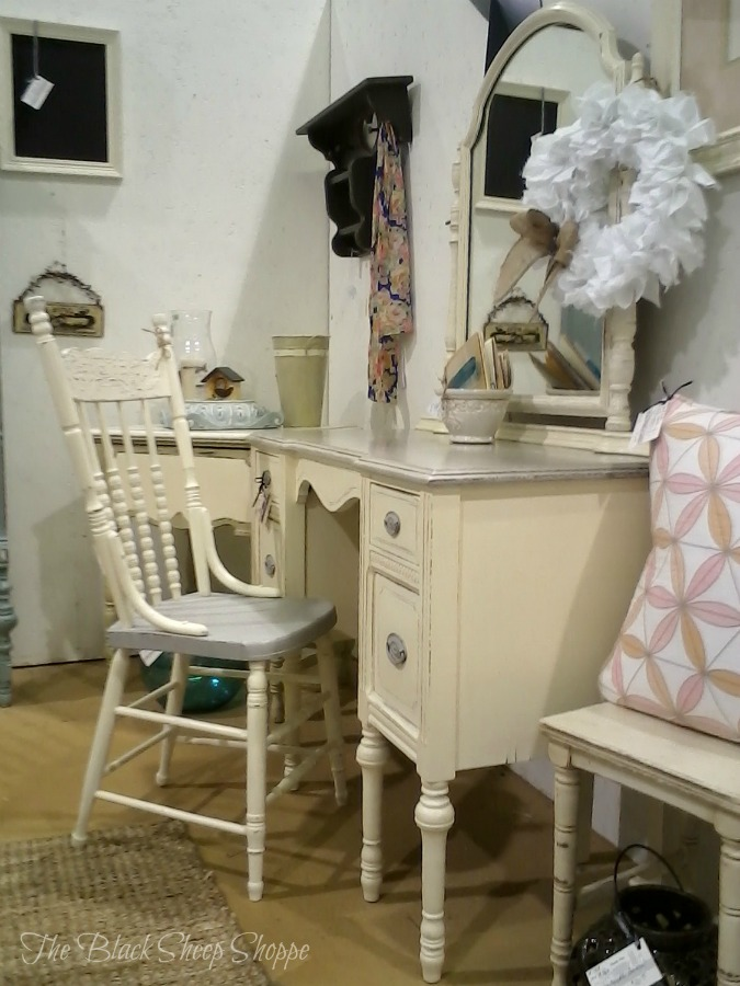 Chair and vanity at my booth.