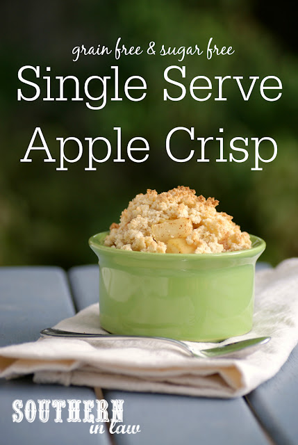 Sugar Free Single Serve Apple Crisp Recipe - single serving apple crumble, low fat, gluten free, clean eating, sugar free, grain free, paleo, healthy, vegan