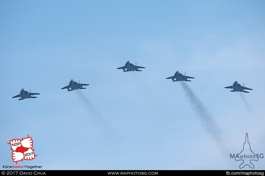 Formation of five F-15SG Strike Eagles