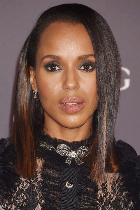Kerry Washington's sporadic streaks are a fun way to add a jolt of noticeable color without resorting to a whole head of highlights or a crazy shade.