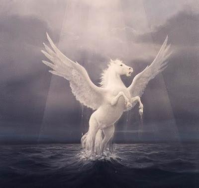 Pegaso blanco saliendo del mar