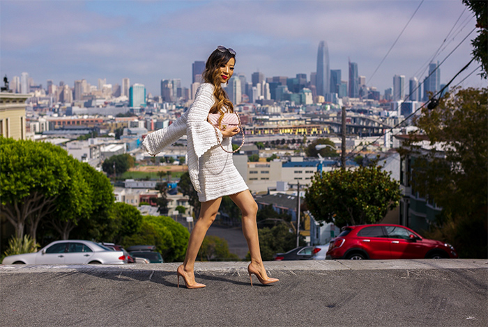 Split bell sleeve knit dress, little white dress, chloe sunglasses, kendra scott earrings, christian louboutin so kate pumps, san francisco street style, san francisco fashion blog, fall outfit ideas