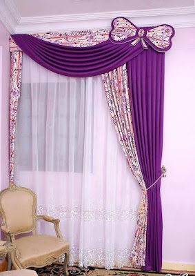 purple curtains with printed fabric and butterfly accent