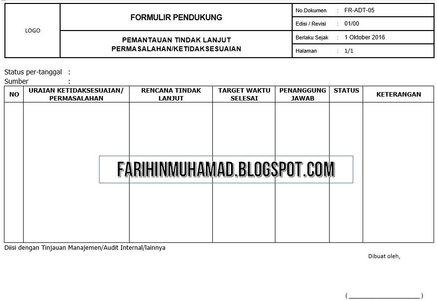 Contoh Form Pendukung Sop Audit Internal Farihin S Blog