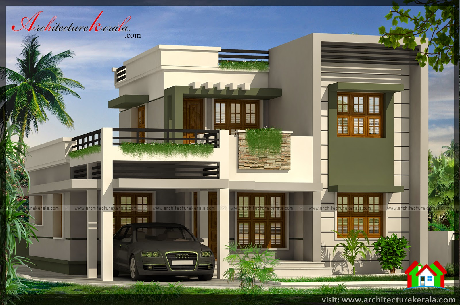 Below 2000 Square Feet House Plan And Elevation