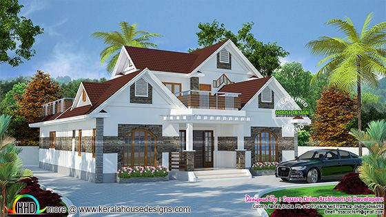 2417 sq-ft sloping roof style modern home
