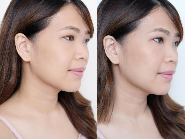 before and after photo of The Body Shop Shimmer waves review in 01 Bronze by Nikki Tiu of www.askmewhats.com
