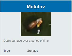 Deskripsi Grenades Molotov di Rules Of Survival