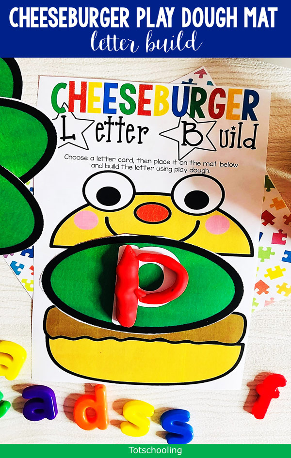 FREE printable Playdough mats featuring a cheeseburger and alphabet pickles. Fun theme that preschoolers and kindergarten kids will love! Perfect for year-round letter practice and fine motor fun.