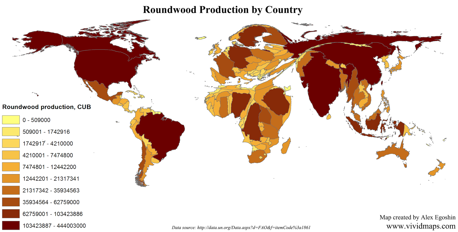 Roundwood production by country