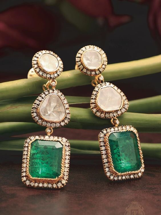 Emerald Diamond Set Large Earrings