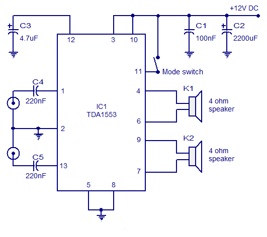 Class B audio amplifier based on TDA1553 |AUDIO AMPLIFIER SCHEMATIC CIRCUITS PICTURE