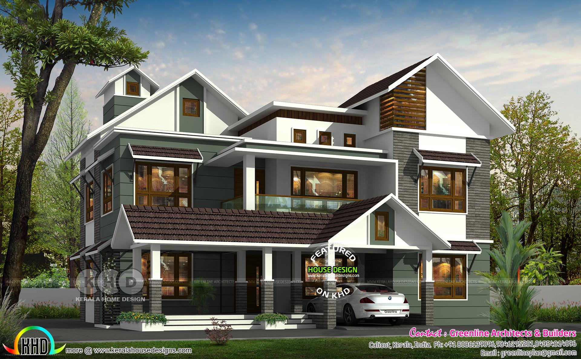 307 Sq M 4 Bhk Mixed Roof House Kerala Home Design Bloglovin