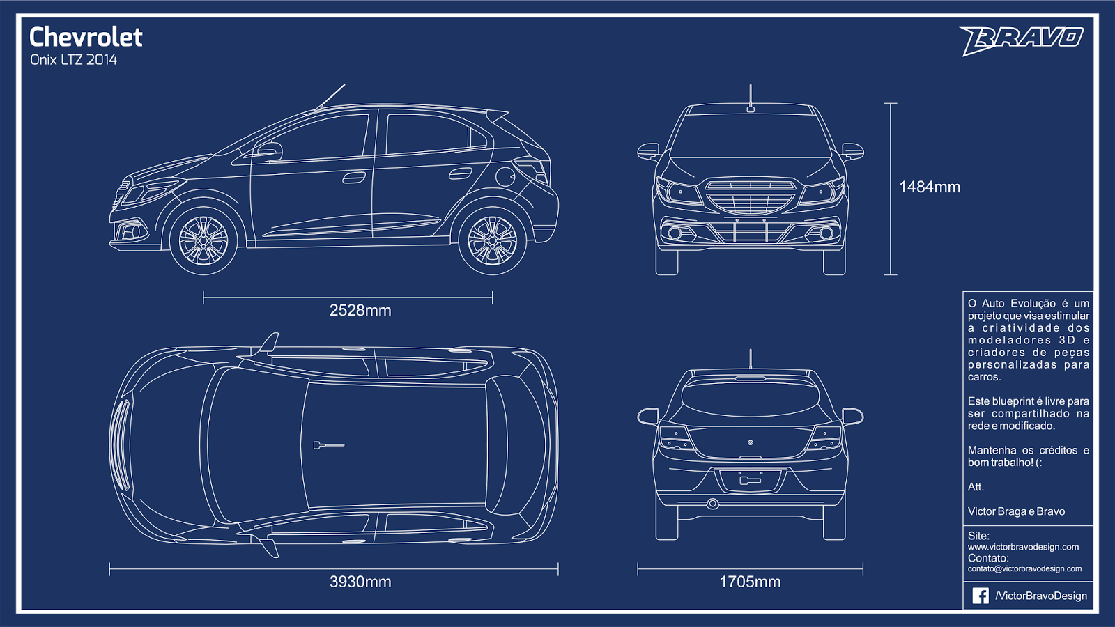 Imagem mostrando o blueprint do Chevrolet Onix LTZ 2014